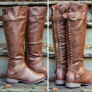 Ladies PU Leather Rivet Knee High Knight Boots Buckle Strap Low-Heel Riding Shoe