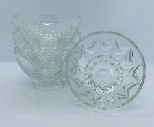 More details for set of 4 vintage 1940s clear glass dessert glacé ice cream pedestal bowls d10cm