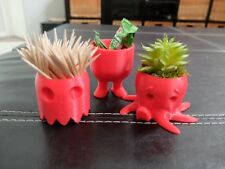 SET OF 3 CUTE RED CONTAINERS PLANTER TOYS BELLY LEGS OCTOPUS PAC MAN GHOST