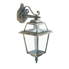 Searchlight 1522 New Orleans IP44 Black & Gold Outdoor Wall Light Clear Glass