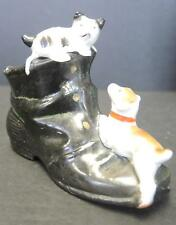 Adorable Antique Porcelain Figural Ashtray Boot with Kitten & Dog