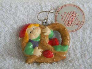 "ELF IN A PRETZEL - 2 3/4"" DIAMETER - HALLMARK CHRISTMAS TRIMMERS - 1983"