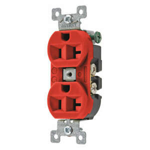 BRYANT 5362BRED Receptacle,Red,20A,125VAC,Duplex Outlet