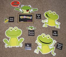 """Teacher Resource: """"Leap into Learning"""" Frog Bulletin Board Set - 14 Pieces"""