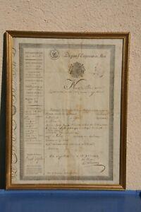 document Napoléon XIX ème passeport vieux papier