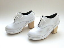 NEW Comme des Garcons White Leather Lace-up Wooden Platform Clog Size 23.5  6.5