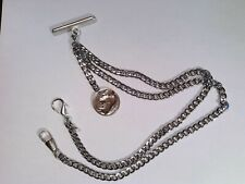 Pocket watch Double Albert Chain silver tone with buffalo nickle fob