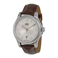 ORIS klassisch Datum Silber Zifferblatt Braun Leder Herrenuhr 733-7594-4031LS