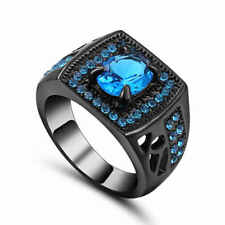 Glittering Women's 10K black Gold Filled (Blue) Aquamarine Ring Size 7 For Party