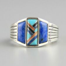 Vintage Sodalite Turquoise Inlay Spiny Oyster Sterling Silver Ring Size 12 CP