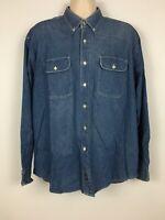 Dockers Men's L Denim Button Up Shirt Long Sleeve Indigo Blue Lightweight Casual