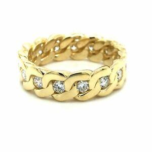 Mens 1.5cttw Diamond Cuban Link Eternity Ring 14k Yellow Gold Sz 12