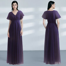 Long Chiffon Short Sleeve V-Neck Evening Dresses Mother of the Bride Prom Gowns