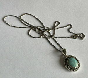 Vintage Navajo Style 925 Silver Turquoise & Marcasite Pendant & 18 Inch Chain