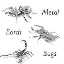 Set of 3 Metal Earth 3D Laser Cut Model Kits Bugs Tarantula Stag Beetle Scorpion