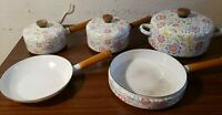 8 piece Vintage Enamel Floral Cookware wooden handle pots and pans with lids