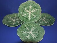 "SET OF 4 Bordallo Pinheiro Portugal Green Cabbage Leaf 9"" Dinner Lunch Plates"