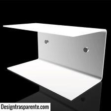 Mensola comodino a C in plexiglass bianco L 40x20x20  Designtrasparente
