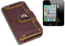 COVER CASE FLIP PORTAFOGLIO COMPATIBILE APPLE IPHONE 4 BORCHIE VIOLA GIALLO