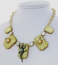 Betsey Johnson Reptile Crocodile and Flower Yellow Bead Gold-Tone Necklace NEW