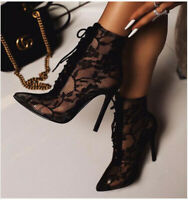 Ladies Sexy High Heels Lace Ankle Boots Pointy Toe Stilettos Nightclub Shoes Sz