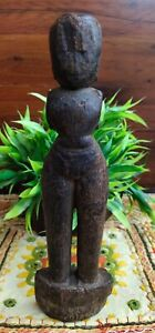 Antique Old Wood Hand Carved South Indian Marapachi Doll Woman Figurine Statue