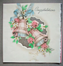 Bells and roses with silver foil underlay wedding greeting card 1x
