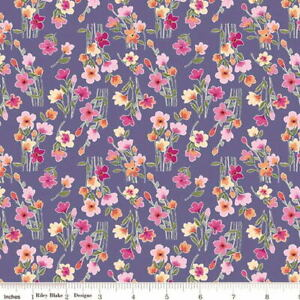 Riley Blake Lucy June Plum Floral Stems C11224 by Lila Tueller Cotton Fabric BTY