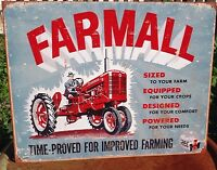 Vintage Farmall Time Improved Farming Tractor Tin Metal Sign Wall Garage Classic