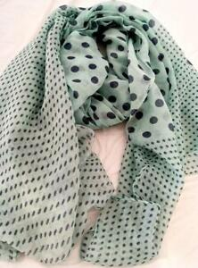 NEW Scarf Minty Green with Navy Spots. Perfect for any season-100% Cotton