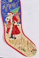 Win-Tex Co Hand Needlepoint Christmas Stocking~Santa Scene