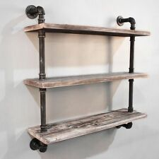 3 Level Rustic Industrial DIY Pipe Shelf Storage Vintage Bookshelf Wall Mount X3