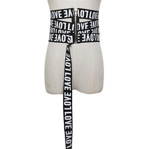 Women Steampunk Hip Hop Gothic Wide Zipper Stretch Waist Corset Elastic Belt New