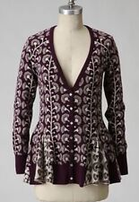 Women's Anthropologie HWR Monogram Sweater Climbing Marigold Cardigan Pepluml XS