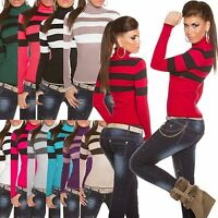 WOMEN'S JUMPER TOP LADIES CLUBBING SWEATER STRIPED SEXY PULLOVER SIZE 8 10 12 14