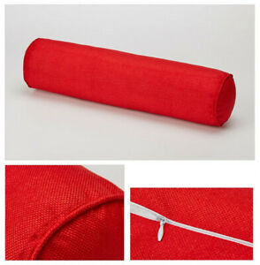Round Cotton & linen Pillow Cervical Roll Neck Back Knee Bolster Washable Cover