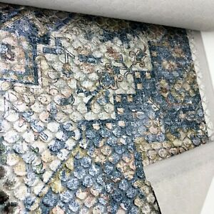 3.9 metres heavy blue and multicoloured shimmering velvet upholstery fabric