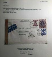 1941 Calcutta India Airmail Censored Cover To Rochester USA Via Chungking