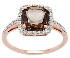 10k Rose Gold Cushion 2.75ct Smokey Quartz and Pave Diamond Halo Ring