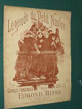 """Partition ancienne Piano et chant """"légende du petit  navire"""" MISSA FRAGEROLLES"""