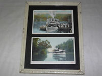 VINTAGE 2  EARLY 1900S STEAMER SHIP CLEARWATER ADIRONDACKS NY  FRAMED  POSTCARD