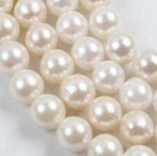 """7-7.5mm White Saltwater Akoya AAA Pearl Round Loose Beads 15"""""""