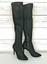 Joie Womens Over Knee Boots Black Suede Leather Zipper High Stiletto Heels 9.5