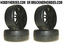 1:8 GRP GT Rubber GTX02-S4  Soft/Med Slick Tires (4) Black Spoke Rims Free Ship