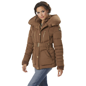 Rocawear Womens Plus Belted Puffer Jacket Pillow Collar Leather 1XL #NJHSN-680