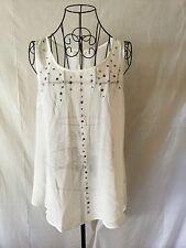 """MINE ALFANI """"Similar"""" White Embellished Blouse Shirt Top Tunic Women's (L)"""