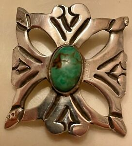 Handmade Sterling Silver & Turquoise Unmarked  Pin Brooch