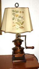 OTTONE antico-LEGNO-Tessuto Schermo Mulino Caffè Lampada da tavolo 2 fiamma 74 cm di altezza