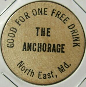 Vintage The Anchorage North East, MD Wooden Nickel - Token Maryland