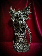 Dragon on Skull Statue Figurine-Skulls Mythical Gothic Fantasy Home Decor Gift